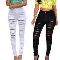 Nouveau Femme Denim Skinny Déchiré Pantalon Taille Haute Extensible Fit Jeans