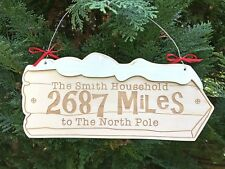 Personalised Christmas Santa North Pole Wooden Family Xmas Sign New Home Gifts
