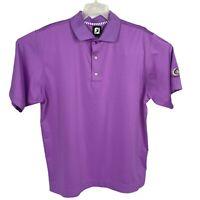 FootJoy FJ Golf Polo Shirt Purple Polyester Spandex Wanumetonomy Mens Sz Medium