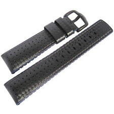 20mm Hirsch Performance Ayrton Black Carbon and Blue Rubber PVD Watch Band Strap