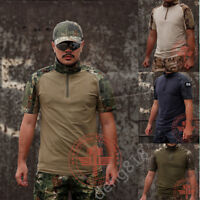 Mens Tactical Army Combat Short Sleeve T-Shirt Military Pullover Casual Kryptek