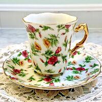 Vintage Chintz Demitasse Tea Cup and Saucer Duo JAPAN Gold Trim Floral