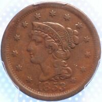 """1853 """"BRAIDED HAIR"""" LARGE CENT, VERY FINE, SHARPLY DETAILED, CHOCOLATE BROWN!"""