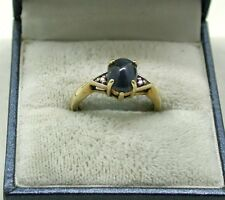 Beautiful 9ct Gold Star Sapphire And Diamond Ring