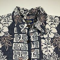 Phil Edwards Reyn Spooner Hawaiian Shirt Mens M Blue Floral Reverse Print