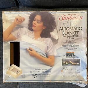 Vintage Sunbeam Blue Elite Automatic Heating Blanket Twin Size USA Made w/ Box