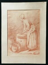 19th.Century Old Master Red Chalk Drawing Chardin 1800s French Servant