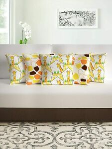 16 x 16 Inch, Yellow and Orange Pack of 5 Abstract Print Polyester Cushion Cover