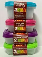 HEMICASA REUSABLE PLASTIC FOOD STORAGE CONTAINERS WITH LID FREEZE & MICROWAVABLE