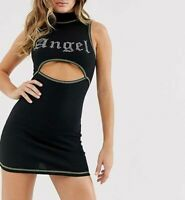 MOTEL ROCKS Meela Dress in Black with Angel Diamante  (MR109)
