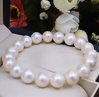 Fashion Women's 9-10MM Natural White Freshwater Pearl Stretch Bracelet 7.5'' AAA