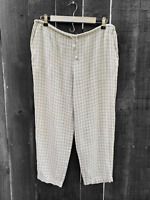 Eileen Fisher Size Small Linen Blend Beige Gray Check Crop Pants