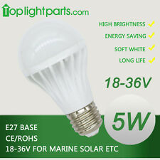 (2pcs) x 24V to 36V E27 E26 4500K Day White LED Light Bulb Marine Solar 4300K CE