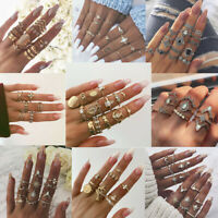 Women Vintage Midi Finger Ring Set Crystal Knuckle Rings Fashion Jewelry Gift
