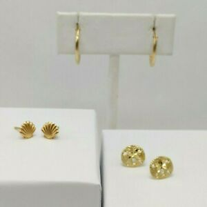 14K Yellow Gold - 3 Set Lot - Shell, Sand dollar, and Small Hoop Earrings
