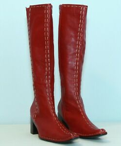 Vintage GODE Red Knee High Boots Zip Up size 38.Made in Italy. Condition is New.