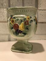 Vintage Ceramic Planter Pedestal Foot Green Floral Fruit Rubens Robbia Elegante