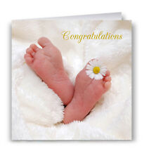 Congratulations New Baby Greeting Card - Feet Daisy
