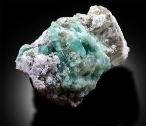 Seafoam Tourmaline Crystals on Quartz Specimen - 236g , 68*48 mm