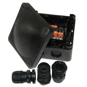 Wiska 308 Outdoor Junction Combi Box c/w 3 Wagos + 3 x Black 20mm Glands