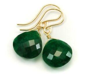 Green Emerald Earrings Natural Heart Teardrops Sterling 14k Solid Yellow Gold