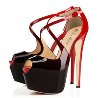 Onlymaker Women's Heeled Peep Toe Stiletto Ankle Crisscross Strap Platform Pumps