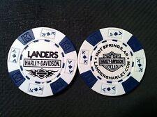 """Harley Poker Chip  (White & Blue)  """"Landers Hot Springs"""" AR. CLOSED DEALER"""