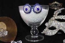 mariée mariage boucles d'oreilles argent bleu royal CLAIR DE LUXE