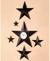 Set Of 5 Galvanized Barn Stars Primitive Country Black Western Star Wall Clock