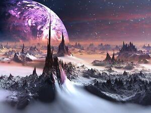 Fantasy Planet - Moon Pink Dark World Landscape Poster / Canvas Picture Print