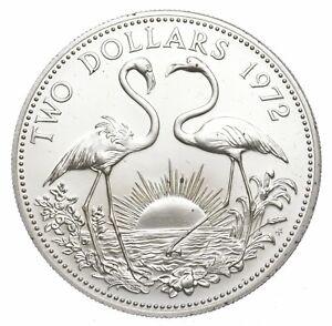 SILVER - WORLD COIN - 1972 Bahama Islands 2 Dollars - World Silver Coin *091