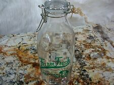 Nostalgic Looking Quart Glass Milk Jar w/ Lid- Reads Farm Fresh Cloverleaf Dairy