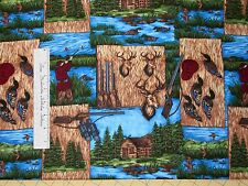 Riverwoods Fabric - Duck Cabin Deer Hunter Patch - Nostalgic Hunt Cotton YARD