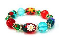 Woman Stretch Bracelet Blossom Flowers Glass Beaded Multi Color