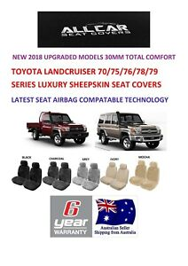 Sheepskin Car Seatcovers to fit Toyota Landcruiser 70-79 Series Airbag safe