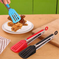 Stainless Steel Silicone Tongs Kitchen BBQ Salad Food Clamp Cooking Serving Clip