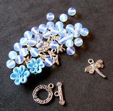 Polymer Clay Flower Beads Opalite Blue Dragonfly Charm Pewter Bracelet Kit