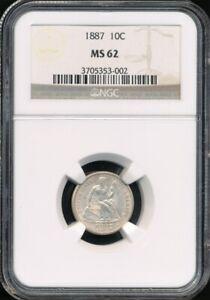 1887 Seated Liberty Dime NGC MS 62 *Abundant Mint Luster!*