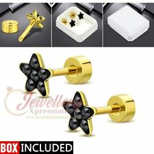 G-1.0mm | Gold Color Plated Stainless Steel Star Ear Studs W/ Jet Black CZ (p...