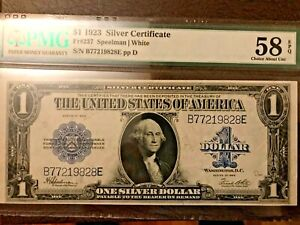 1923 $1 Silver Certificate PMG AU58 Excellent paper Quality  Large Size Notes