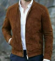 New Handmade Men's Fashion Brown Genuine Suede Leather Biker Jacket