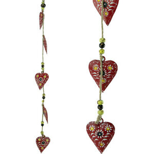 Hanging Mobile Decoration String of Hearts - Red (Sand String)