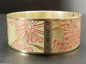 Fossil Floral Enamel Bangle Bracelet Goldtone Light Green Pink New!