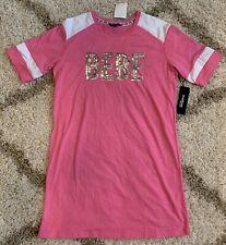 Bebe Sport Dress T-Shirt Size Large Pink Sequin Logo NWT