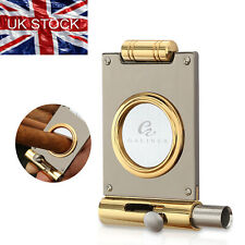 More details for guillotine cigar cutter 2 in 1 gift box stainless steel cigar punch gold 22mm