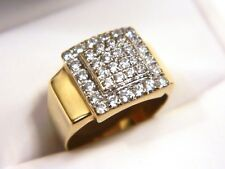 14K Yellow Gold CZ Square Pave Cocktail Ring Size ~6.25-6.5 Cubic Zirconia