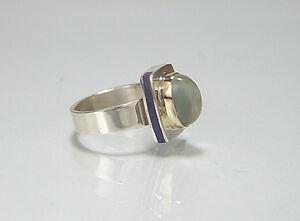 Moonstone. Lapis Lazuli Inlay Ring. Size 7-3/4. 14k / Argentium Silver