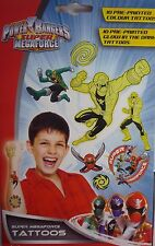 Saban Power Rangers Megaforce 20 Temporary Tattoos (Coloured & Glow in the dark)