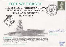 HMS Hermes Sunk by Japanese aircraft Signed E. Nelson Girtchen survivor