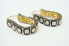 Victorian Natural Rose Cut Diamond & Diamond Polki 925 Sterling Silver Earrings